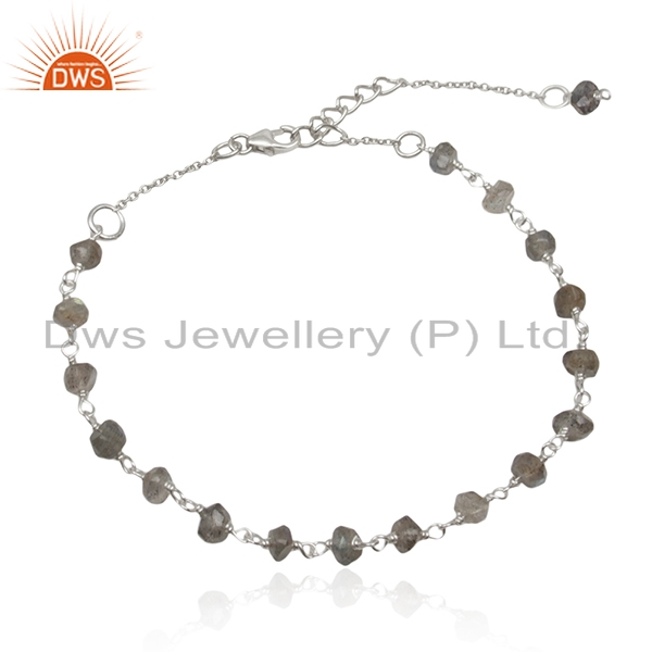 Fine sterling silver handmade labradorite gemstone beaded bracelet wholesale