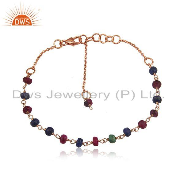 Rose Gold Plated Silver Multi Stone Beaded Bracelet Jewelry Supplier
