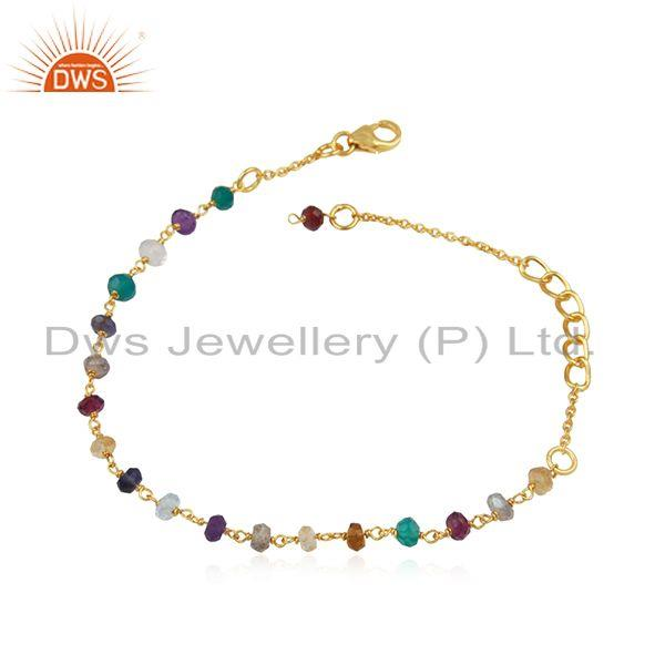 18k yellow gold plated sterling silver multi colored gemstone beaded bracelet