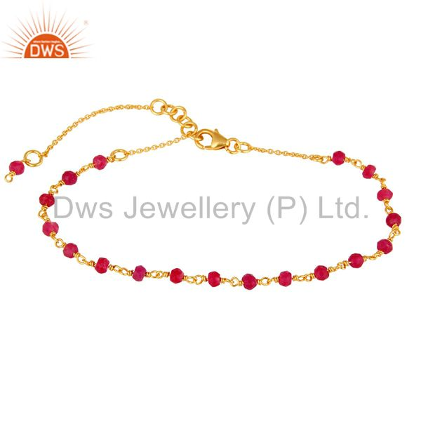 18K Gold Plated Sterling Silver Natural Red Aventurine Gemstone Beaded Bracelet