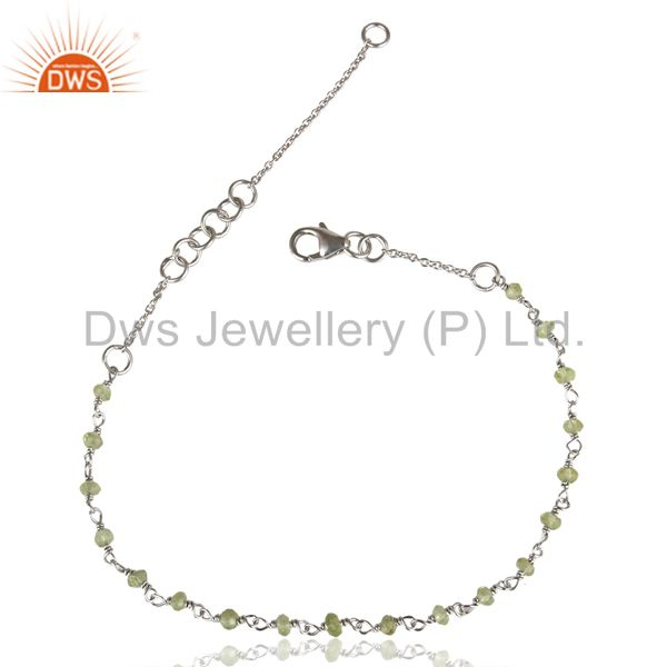 Handmade white rhodium 925 sterling silver natural peridot beads chain bracelet