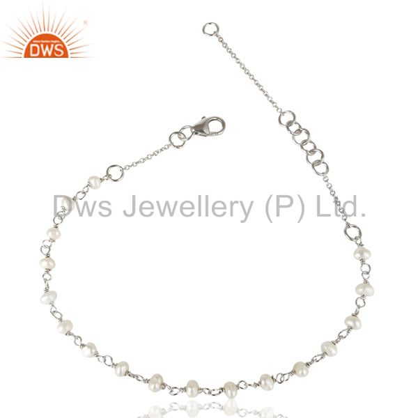 Handmade white rhodium 925 sterling silver white pearl beaded chain bracelet