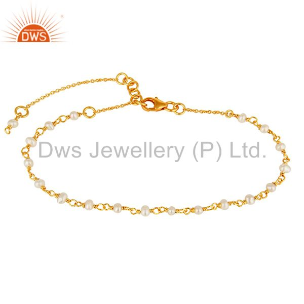 22K Yellow Gold Plated Sterling Silver White Pearl Beaded Chain Bracelet