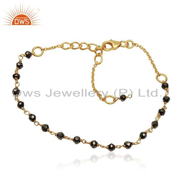 Beaded pyrite gemtsone gold plated sterling silver chain bracelet wholesale