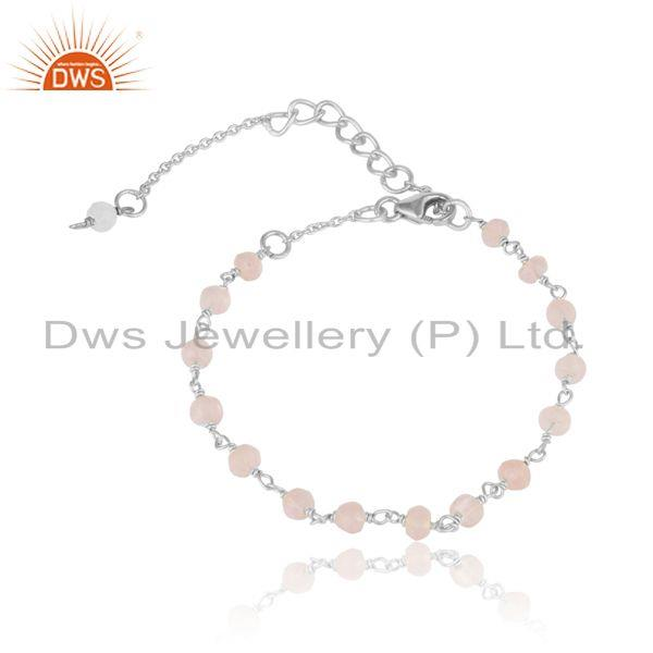Handcrafted rose quartz bead bracelet in sterling silver 925