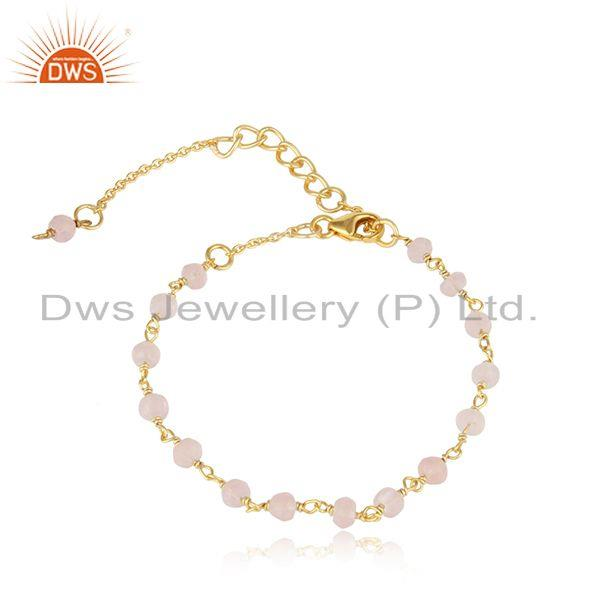 Handcrafted Rose Quartz Bead Bracelet in Yellow Gold on Silver