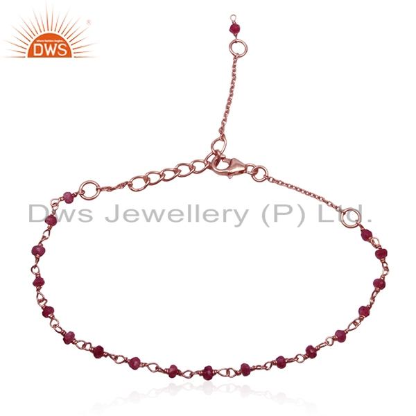 Corundum Ruby Gemstone Rose Gold Plated Silver Beaded Bracelet Wholesale