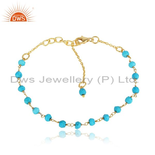 Handcrafted Turquoise Bead Bracelet in Yellow Gold on Silver