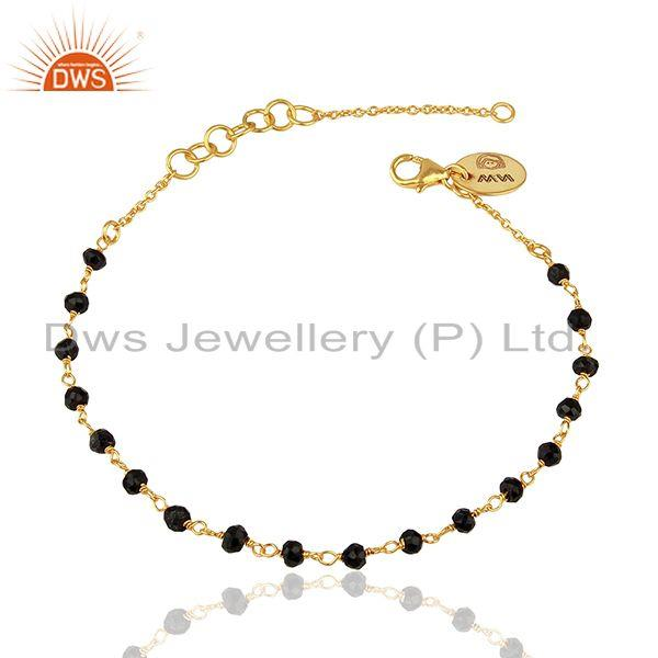 Handcrafted Black Onyx Bead Yellow Gold on Silver Chain Bracelet