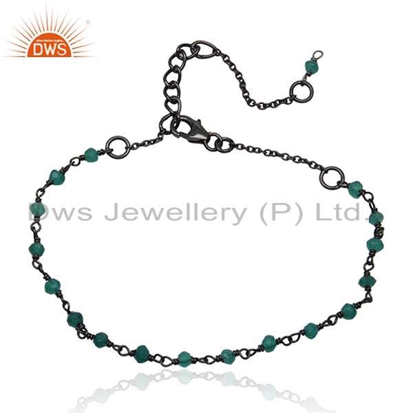 Green Onyx Beaded Gemstone Black Rhodium Plated 925 Silver Bracelet Suppliers