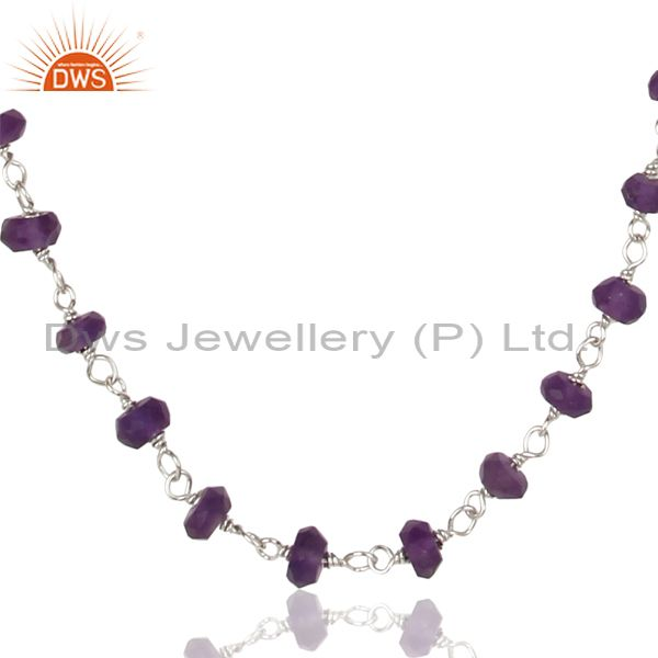 Handmade White Rhodium 925 Sterling Silver Amethyst Gemstone Beads Necklace