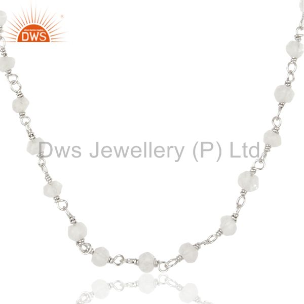 Handmade white rhodium 925 sterling silver crystal quartz beads necklace jewelry