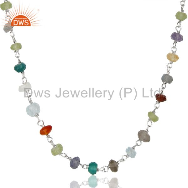 Handmade White Rhodium 925 Sterling Silver Multi Cut Stone Beads Necklace