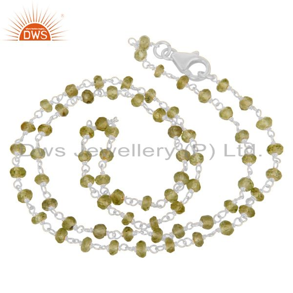 Natural Peridot White Rhodium 925 Sterling Silver Chain Necklace Jewelry