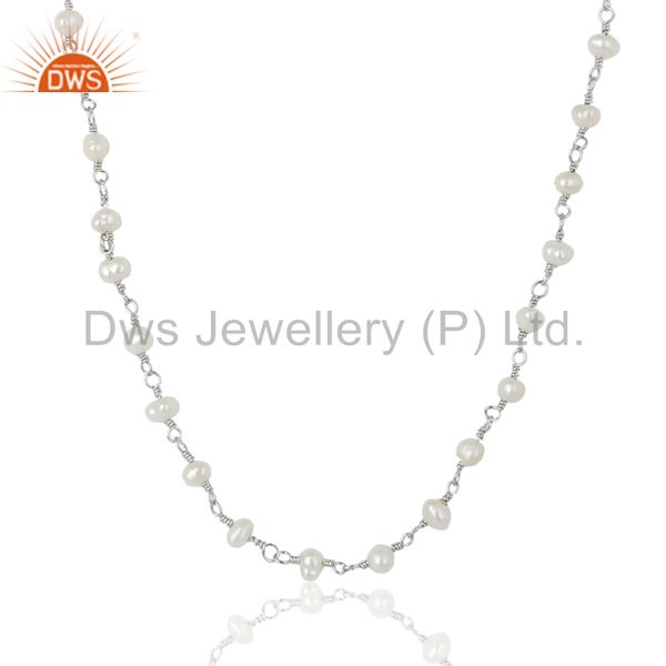 Natural Pearl White Rhodium 925 Sterling Silver Chain Necklace Jewelry