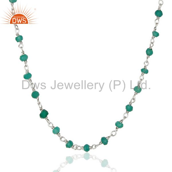 Handmade White Rhodium 25 Sterling Silver Natural Green Onyx Beads Necklace