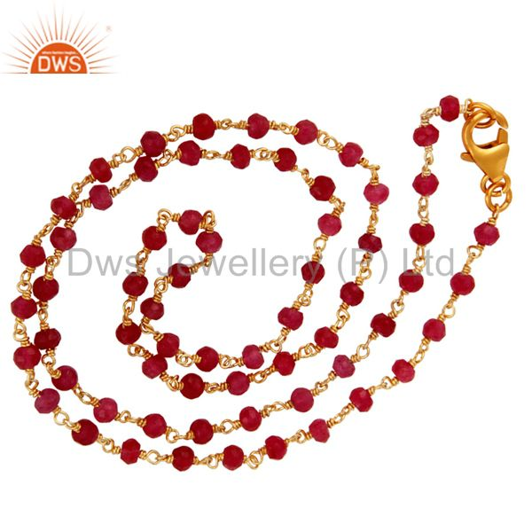 18K Gold Plated Sterling Silver Red Aventurine Gemstone Faceted Beads Necklace