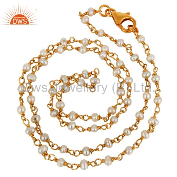 Genuine Pearl Sterling Silver Wire Wrapped Beaded Chain Neckalce Gold Plated