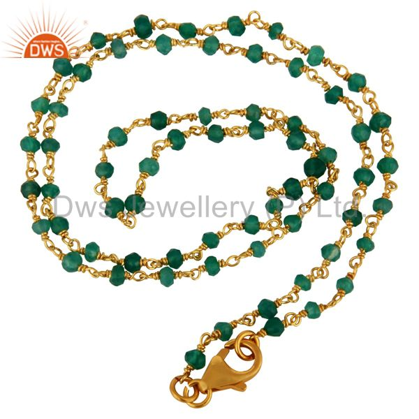 Green Onyx Gemstone Beads 22K Gold Plated 925 Sterling Silver Chain Necklace