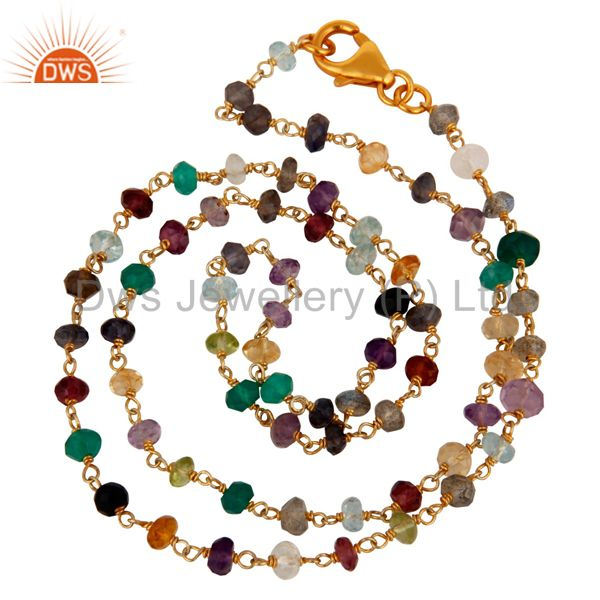 22k yellow gold plated sterling silver multi colored gemstone beaded necklace