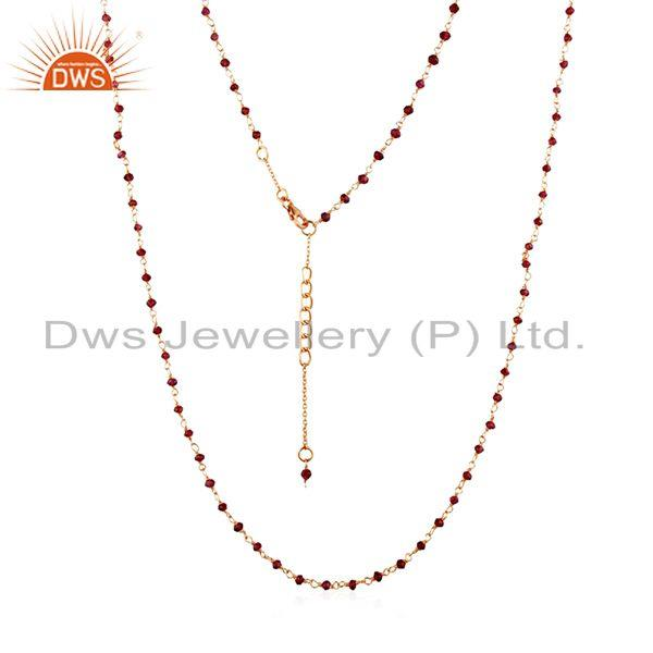 Beaded Garnet Gemstone Gold Plated 925 Silver Necklace Manufacturer