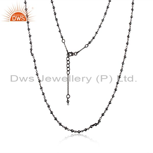 Hematite Gemstone Black Rhodium Plated 925 Silver Beaded Necklace Manufacturer