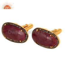 18k gold plated sterling silver ruby gemstone diamond cufflinks mens jewelry