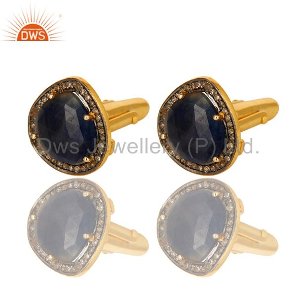 Pave diamond blue sapphire cufflinks in 18k gold over sterling silver jewelry