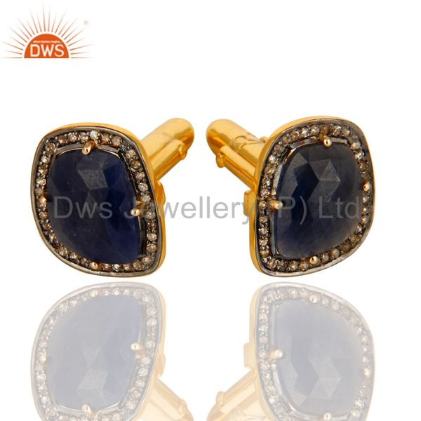 18K Yellow Gold Plated Sterling Silver Pave Diamond Blue Sapphire Cufflinks