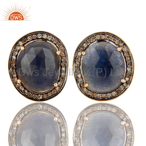 18K Yellow Gold Sterling Silver Pave Diamond Blue Sapphire Cufflinks Jewelry
