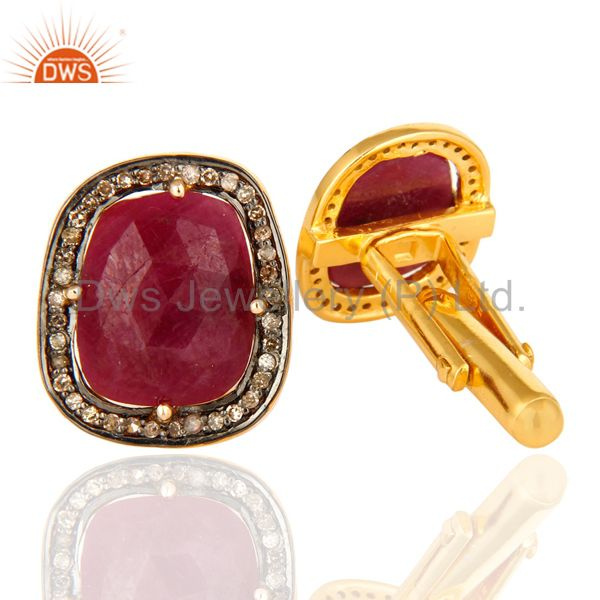 14K Yellow Gold And Sterling Silver Genuine Ruby Pave Set Diamond Mens Cufflinks