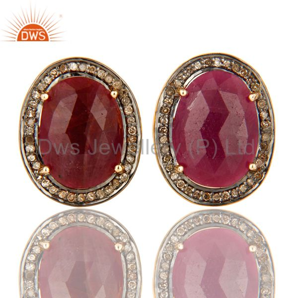 Pave Set Diamond And Ruby Gemstone Cufflinks Made In 18K Gold On Sterling Silver