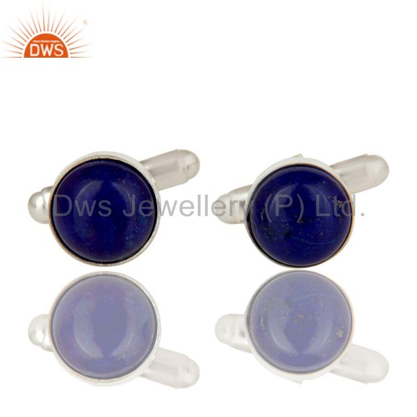 Solid 925 Sterling Silver Lapis Lazuli Gemstone Cufflinks Mens Jewellery