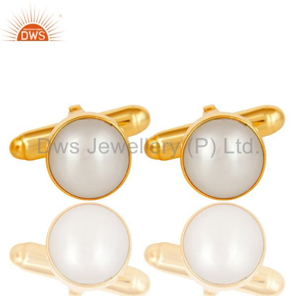 Handmade Pearl 925 Sterling Silver Mens Fashion Cuff Links With Gold Plated