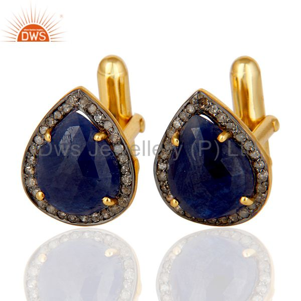 Blue Sapphire and Pave Diamond 18K Gold Plated 925 Silver Cufflink Mens Jewelry