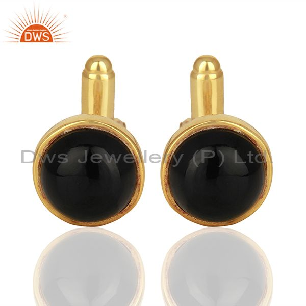 Gold Plated Black Onyx Gemstone Cufflinks jewelry Finding manufacturer