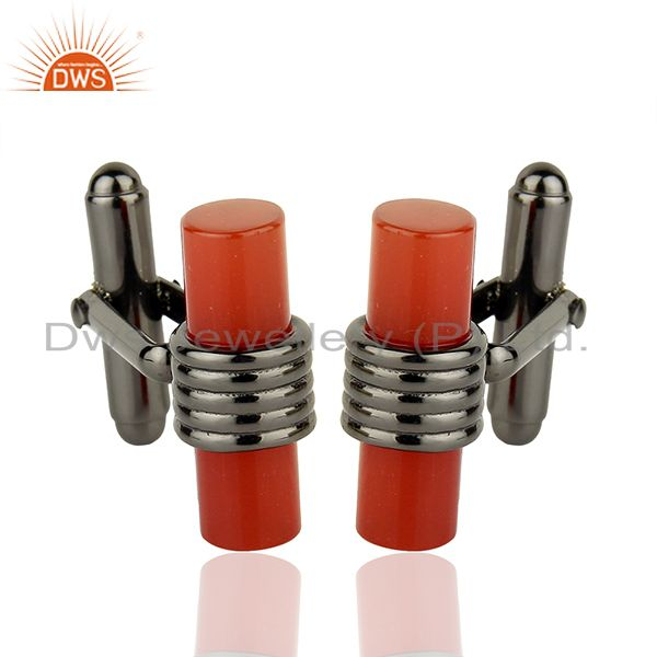 Carnelian Gemstone Rhodium Plated Silver Cufflink Jewelry Supplier