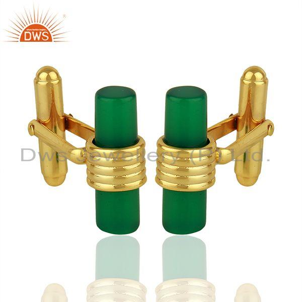 Natural Green Onyx Gemstone Gold Plated Silver Mens Cufflink Supplier