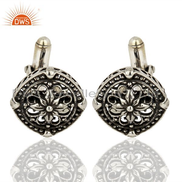 Filigree Design 92.5 Sterling Silver Mens Cuff Links Jewelry