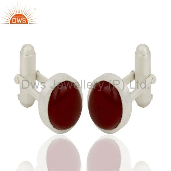 Red Onyx Gemstone Oval Shape 925 Sterling Silver Mens Cufflink Jewelry