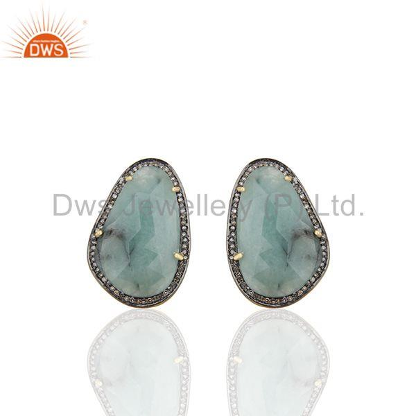Mens Jewellery Pave Diamond and Emerald Gemstone Gold Silver Cufflink Supplier