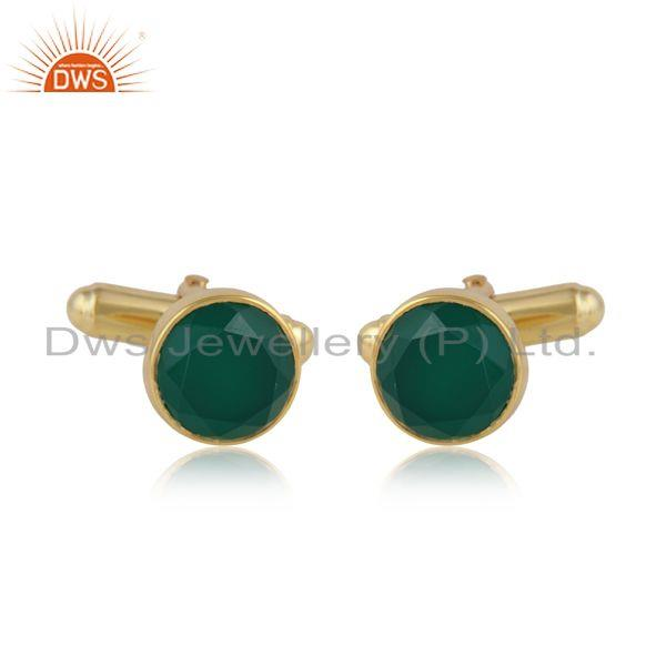 Round Shape Green Onyx Gemstone Gold Plated 925 Silver Cufflinks