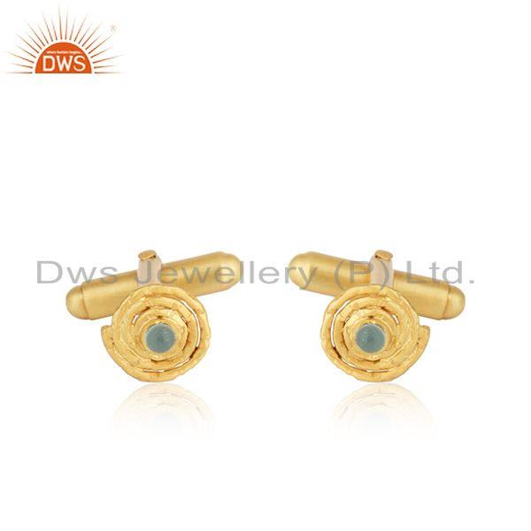 18k Gold Plated 925 Silver Aqua Chalcedony Gemstone Cufflinks