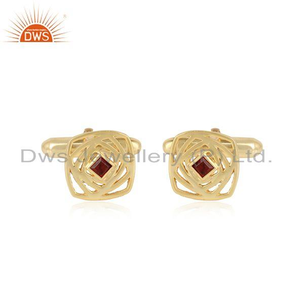 Maze Design 18k Gold Plated 925 Silver Garnet Gemstone Cufflinks