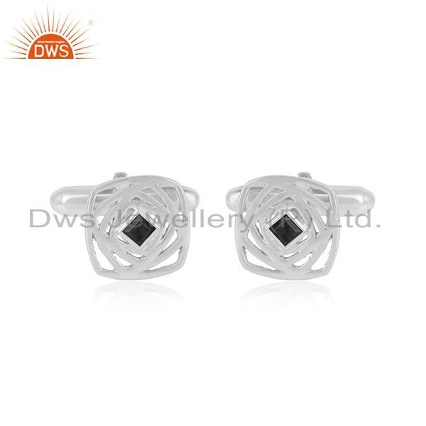 925 Sterling Fine Silver Designer Black Onyx Gemstone Cufflinks