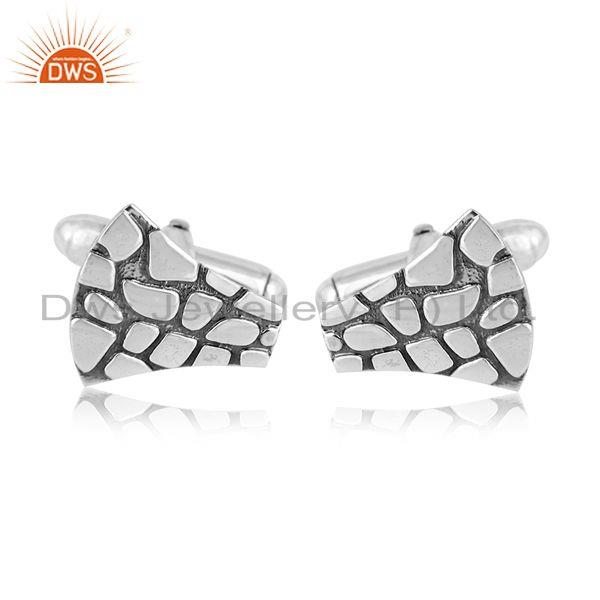Jaguar Textured Bold Cufflinks in Oxidized Silver 925