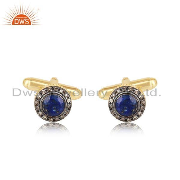 Designer Lapis Diamond Cufflinks in Yellow Gold on Silver 925