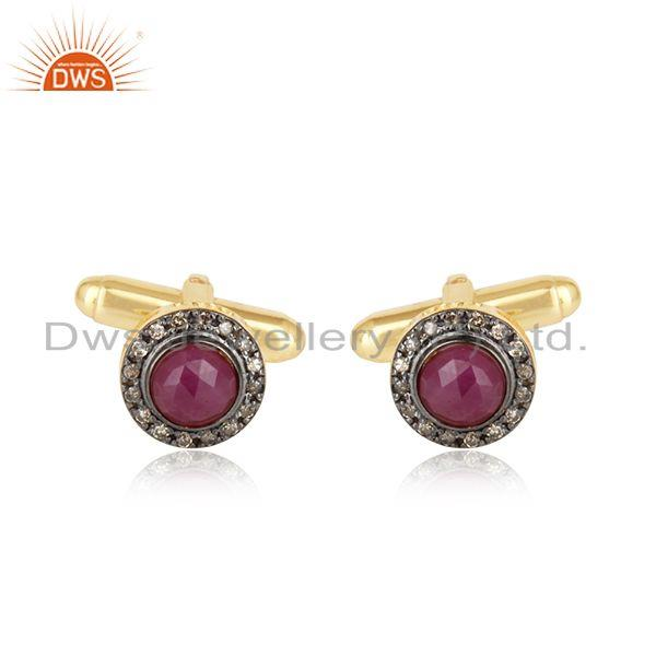 Designer Ruby Diamond Cufflinks in Yellow Gold on Silver 925