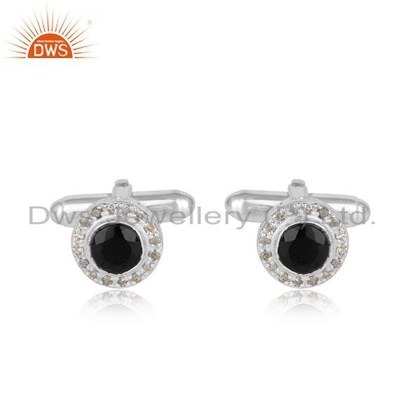 Designer Cufflinks with Black Onyx and Diamond in Sterling Silver