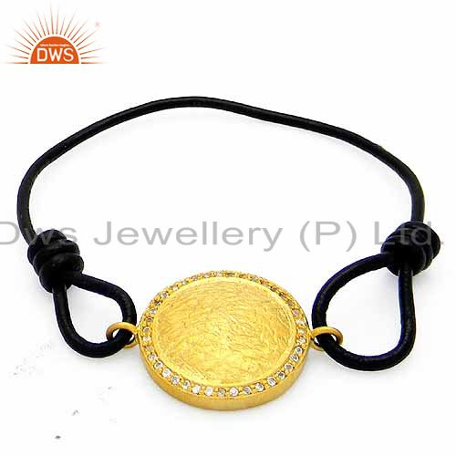 18k yellow gold plated sterling silver cubic zirconia disc macrame bracelet